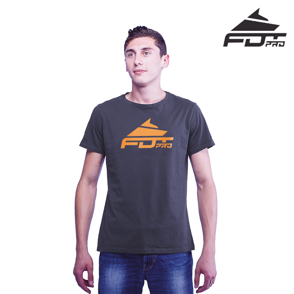 Best Quality Cotton FDT Professional Men T-shirt of Dark Grey Color
