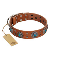 """Blue Sands"" FDT Artisan Tan Leather Cane Corso Collar with Silver-like Studs and Round Conchos with Stones"