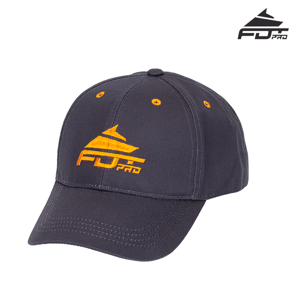 Unisex Dark Grey Color Cap with Orange Logo for Dog Training