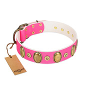 """Drawing Power"" FDT Artisan Pink Leather Cane Corso Collar with Engraved Ovals and Dotted Studs"