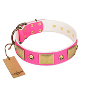 """Glammy Voyage"" FDT Artisan Pink Leather Cane Corso Collar with Stylish Bronze-like Decorations"