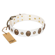 """Fatal Beauty"" FDT Artisan White Leather Cane Corso Collar with Old Bronze-like Studs and Oval Brooches"