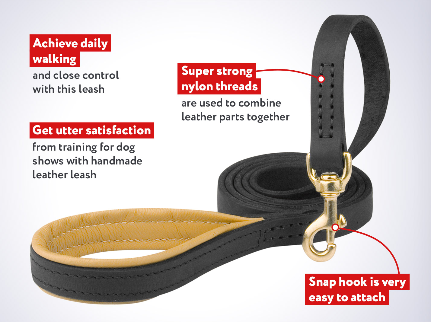 Handmade Strong Dog Leash with Padded Handle for Cane Corso