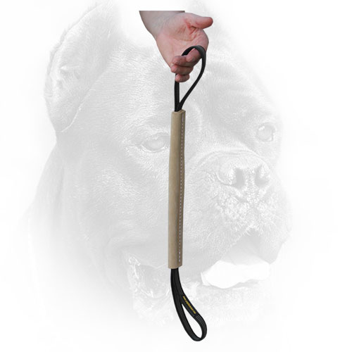 Leather Cane Corso Bite Tug with Comfortable Handles