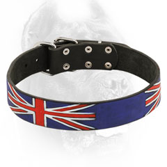 Leather Cane Corso Collar with UK Flag Painting