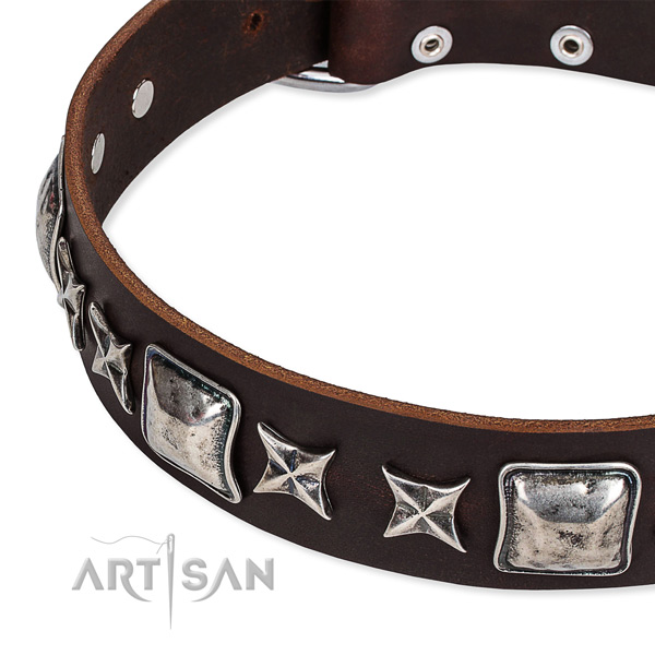 Genuine leather dog collar with decorations for easy wearing
