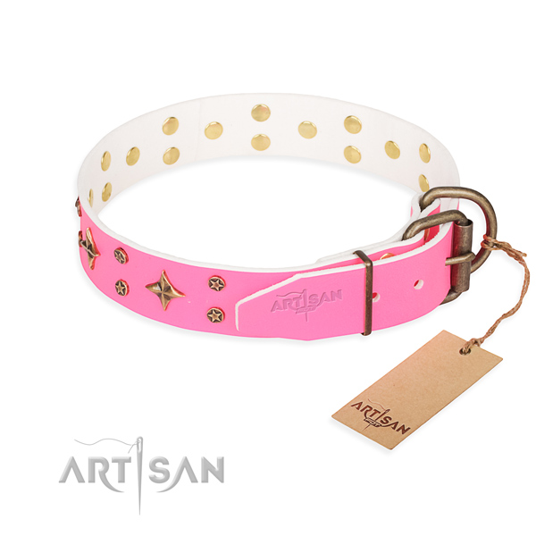 Daily use natural genuine leather collar with embellishments for your four-legged friend