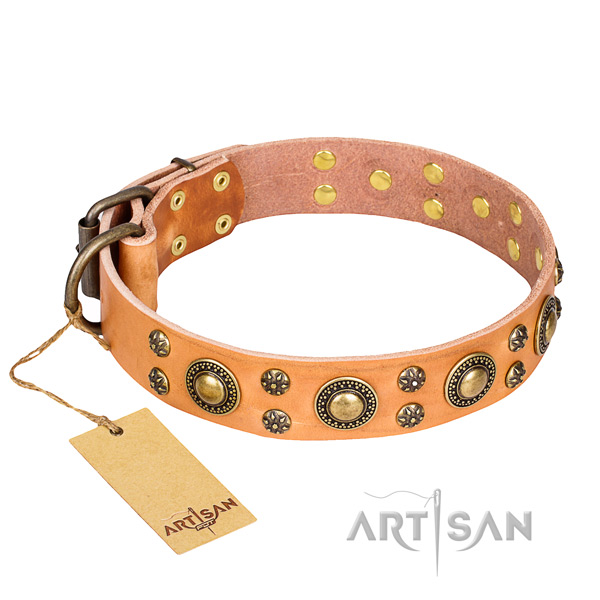 Remarkable full grain natural leather dog collar for handy use