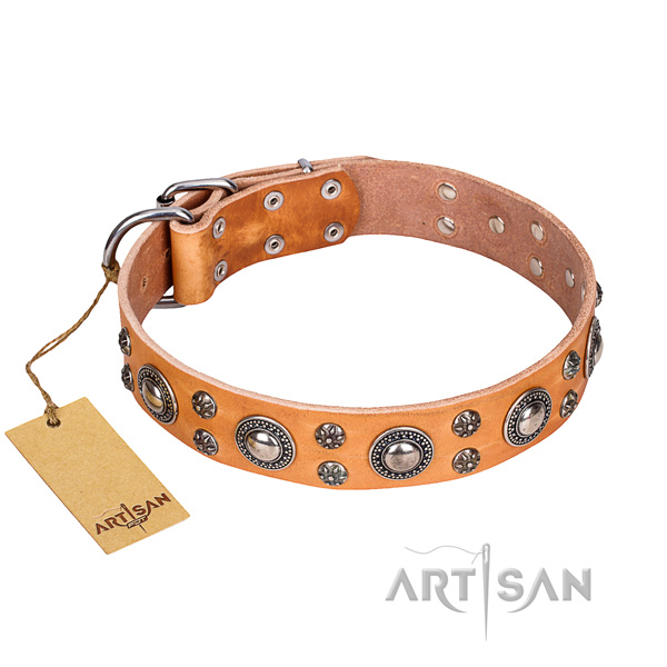 Unusual full grain genuine leather dog collar for daily use