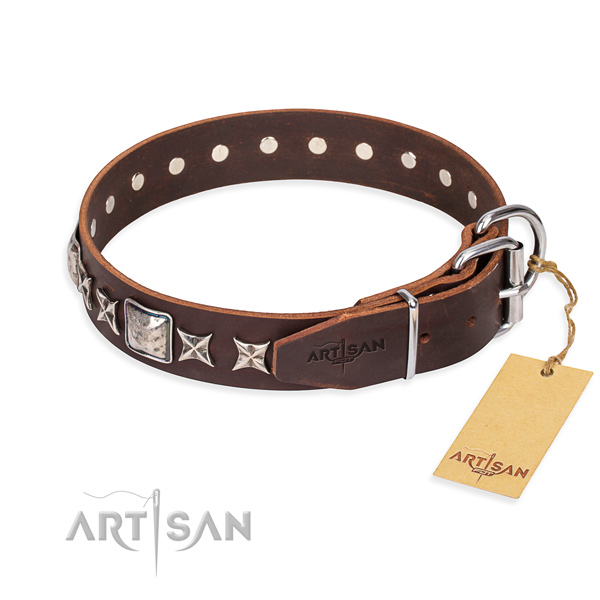 Everyday use genuine leather collar with decorations for your canine
