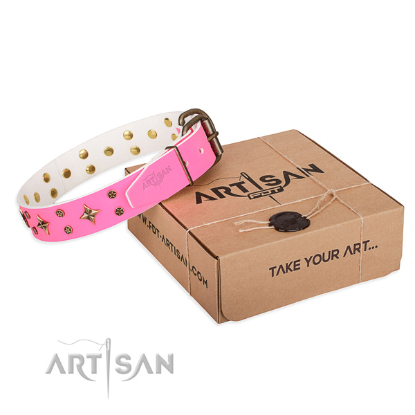 Decorated full grain natural leather dog collar for walking