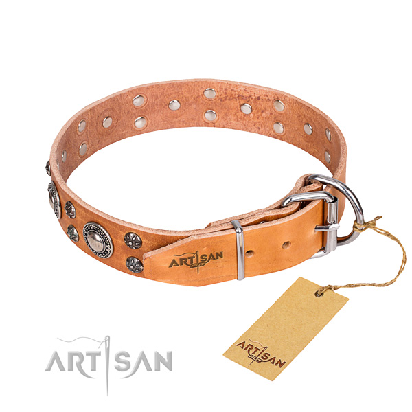 Handy use natural genuine leather collar with decorations for your pet