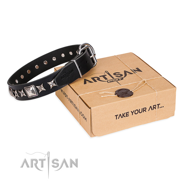 Adorned leather dog collar for daily use