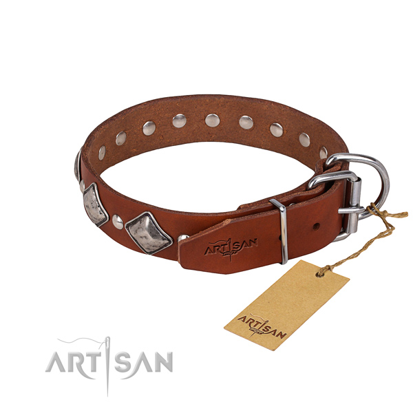 Long-wearing leather dog collar with rust-proof fittings