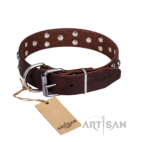 Leather dog collar with polished edges for convenient strolling