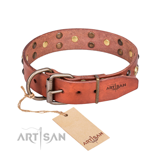 Leather dog collar with smoothed edges for pleasant everyday appliance