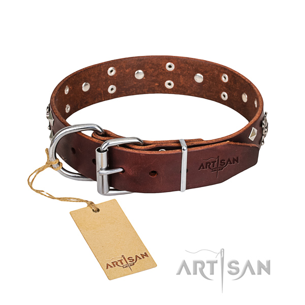 Hardwearing leather dog collar with non-rusting fittings