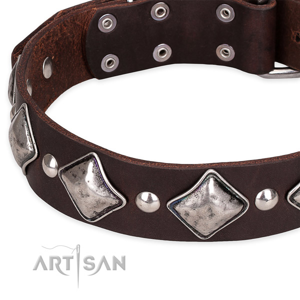 Adjustable leather dog collar with almost unbreakable chrome plated buckle