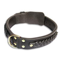 Center D-Ring Leather Collar for mastiff dogs
