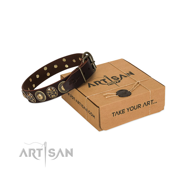 Decorated full grain leather dog collar for daily use