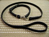 Police Leather Cane Corso Leash and Collar Combo