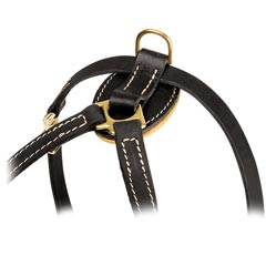 Soft padded everyday leather training dog harness