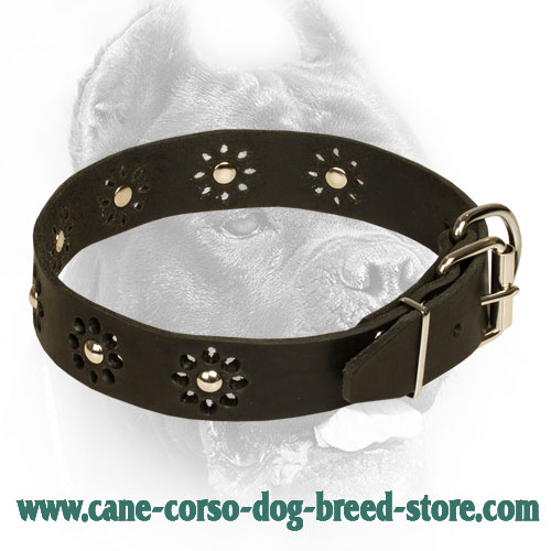 Leather Cane Corso Collar with Flower Ornament