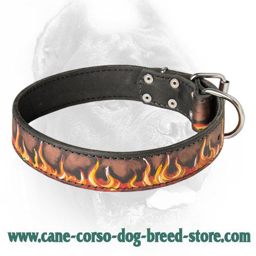 Branded Leather Dog Collar Painted In Fiery Flames for Great Corsos