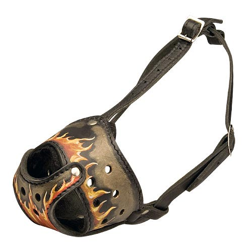 Handcrafted Leather Cane Corso Muzzle with Fire Flames