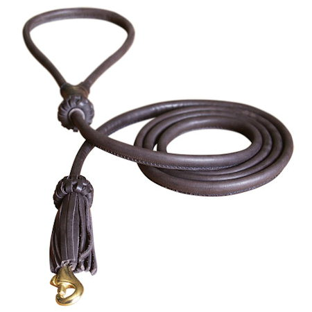 Rolled Leather Dog Leash 4 foot Round lead for Cane Corso