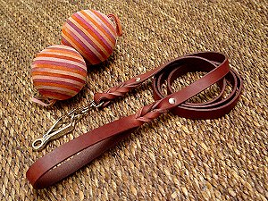 Handcrafted leather dog leash with quick release snap hook for Cane corso