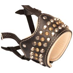 Well-fitting handmade leather dog muzzle