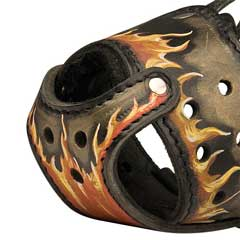Hand painted prime leather dog muzzle