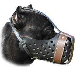 Well-ventilated leather dog muzzle