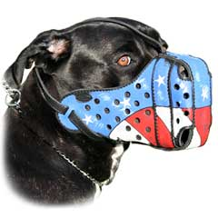 Soft leather easy handling dog muzzle